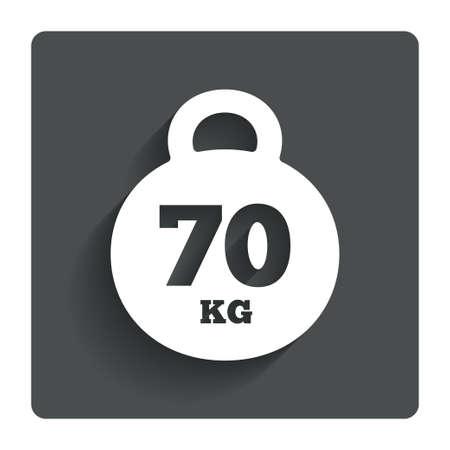 kilograms: Weight sign icon. 70 kilogram (kg). Sport symbol. Fitness. Gray flat button with shadow. Modern UI website navigation. Vector