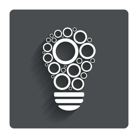 gray bulb: Light lamp sign icon. Bulb with circles symbol. Idea symbol. Gray flat button with shadow. Modern UI website navigation. Vector