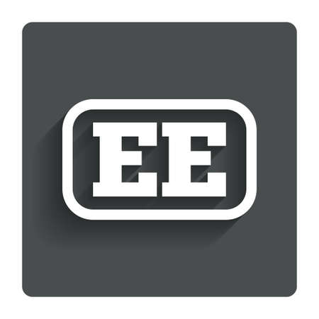 ee: Estonian language sign icon. EE translation symbol with frame. Gray flat button with shadow. Modern UI website navigation. Vector