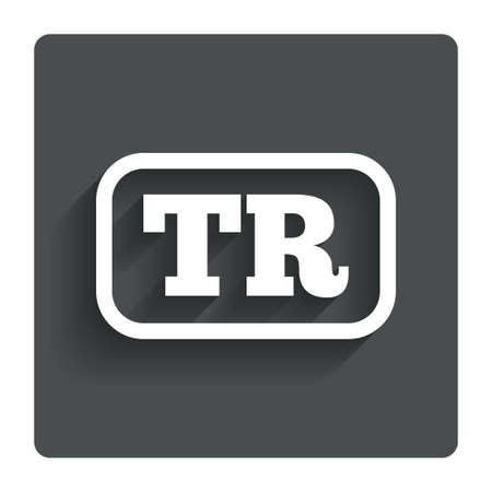 tr: Turkish language sign icon. TR Turkey Portugal translation symbol with frame. Gray flat button with shadow. Modern UI website navigation. Vector