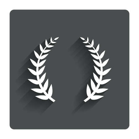 triumph: Laurel Wreath sign icon. Triumph symbol. Gray flat button with shadow. Modern UI website navigation. Vector Illustration