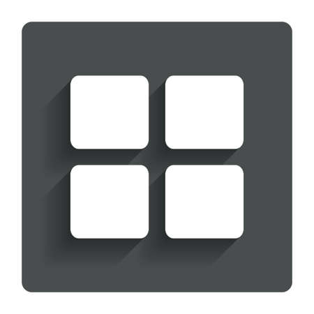 thumbnails: Thumbnails sign icon. Gallery view option symbol. Gray flat button with shadow. Modern UI website navigation. Vector