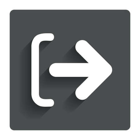Logout sign icon. Sign out symbol. Arrow icon. Gray flat button with shadow. Modern UI website navigation. Vector