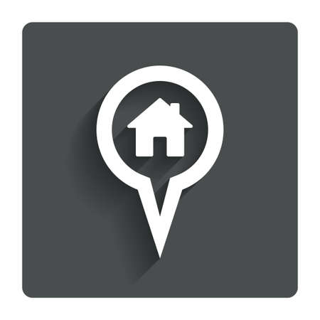 Map pointer house sign icon. Home location marker symbol. Gray flat button with shadow. Modern UI website navigation. Vector Vector
