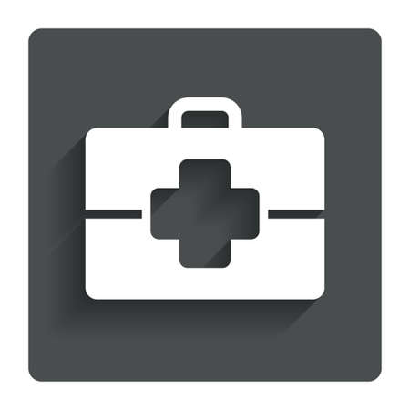 doctor symbol: Medical case sign icon. Doctor symbol. Gray flat button with shadow. Modern UI website navigation. Vector Illustration
