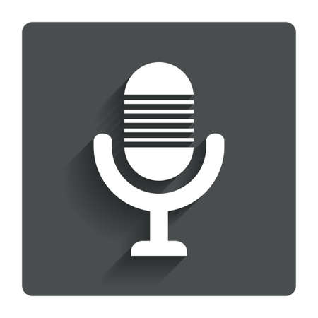 voices: Microphone icon. Speaker symbol. Live music sign. Gray flat button with shadow. Modern UI website navigation. Vector