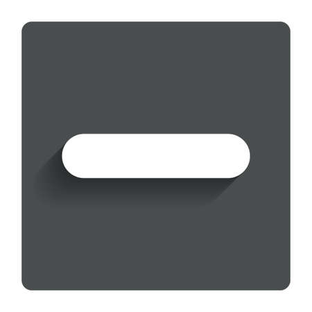 minus sign: Minus sign icon. Negative symbol. Zoom out. Gray flat button with shadow. Modern UI website navigation. Vector