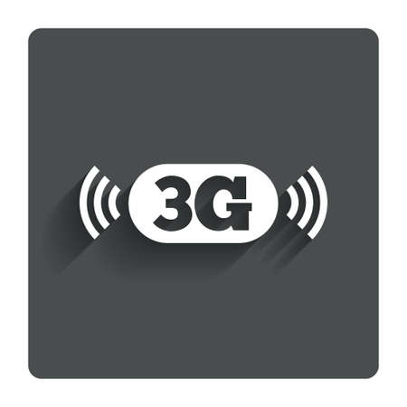 telecommunications technology: 3G sign icon. Mobile telecommunications technology symbol. Gray flat button with shadow. Modern UI website navigation. Vector Illustration
