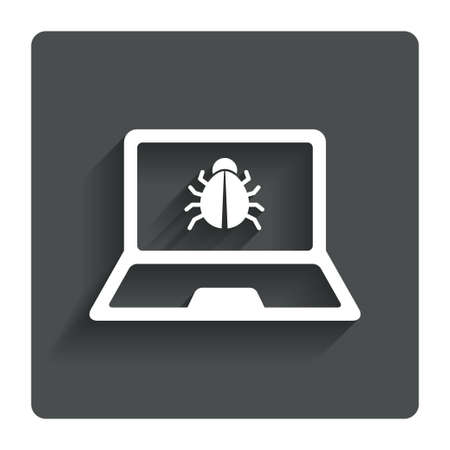 ultrabook: Laptop virus sign icon. Notebook software bug symbol. Gray flat button with shadow. Modern UI website navigation. Vector