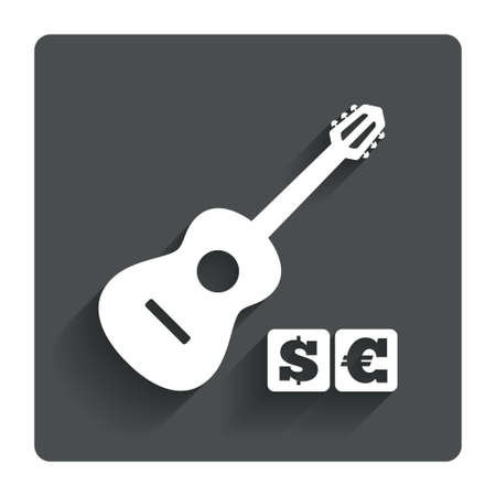 Acoustic guitar sign icon. Paid music symbol. Gray flat button with shadow. Modern UI website navigation. Vector