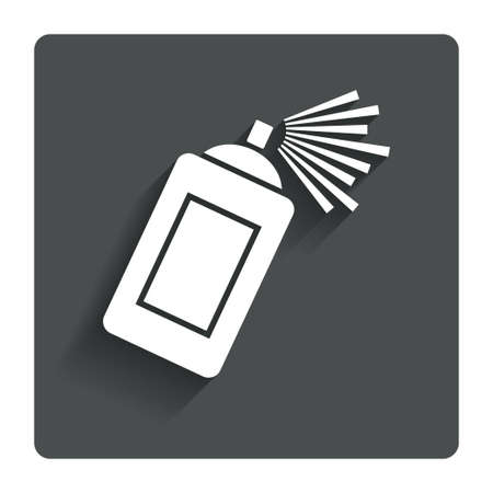 spray paint can: Graffiti spray can sign icon. Aerosol paint symbol. Gray flat button with shadow. Modern UI website navigation. Vector