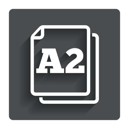 a2: Paper size A2 standard icon. File document symbol. Gray flat button with shadow. Modern UI website navigation. Vector