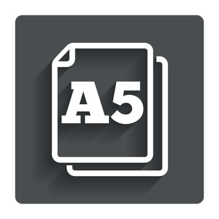 a5: Paper size A5 standard icon. File document symbol. Gray flat button with shadow. Modern UI website navigation. Vector