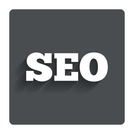 meta analysis: SEO sign icon. Search Engine Optimization symbol. Gray flat button with shadow. Modern UI website navigation. Vector Illustration