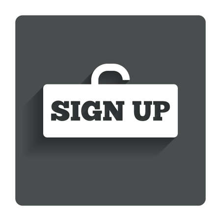 lock up: Sign up sign icon. Registration symbol. Lock icon. Gray flat button with shadow. Modern UI website navigation. Vector