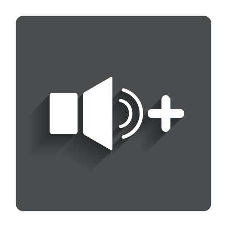 louder: Speaker volume louder sign icon. Sound symbol. Gray flat button with shadow. Modern UI website navigation. Vector Illustration