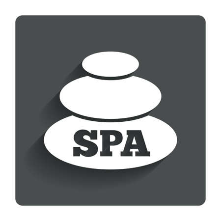 spa stones: Spa sign icon. Spa stones symbol. Gray flat button with shadow. Modern UI website navigation. Vector Illustration
