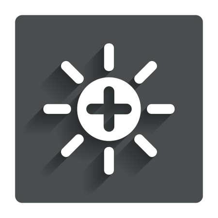 brightness: Sun plus sign icon. Heat symbol. Brightness button. Gray flat button with shadow. Modern UI website navigation. Vector