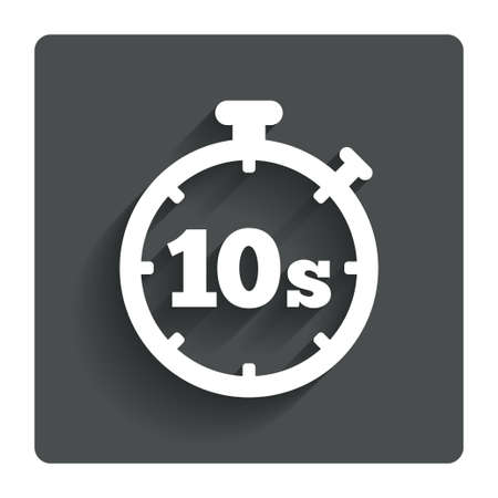 seconds: Timer 10 seconds sign icon. Stopwatch symbol. Gray flat button with shadow. Modern UI website navigation. Vector