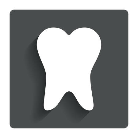 Tooth sign icon. Dental care symbol. Gray flat button with shadow. Modern UI website navigation. Vector Vector