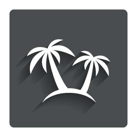 coconut tree: Palm Tree sign icon. Travel trip symbol. Gray flat button with shadow. Modern UI website navigation. Vector