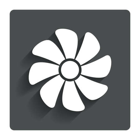 ventilator: Ventilation sign icon. Ventilator symbol. Gray flat button with shadow. Modern UI website navigation. Vector