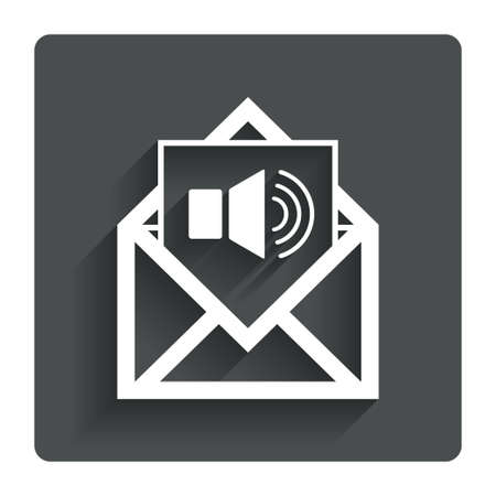 voice mail: Voice mail icon. Speaker symbol. Audio message. Gray flat button with shadow. Modern UI website navigation. Vector