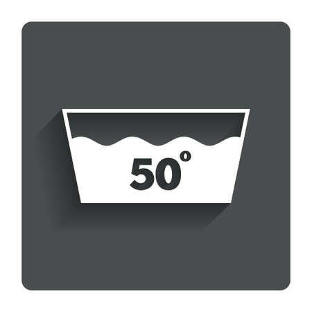 washbowl: Wash icon. Machine washable at 50 degrees symbol. Gray flat button with shadow. Modern UI website navigation. Vector Illustration