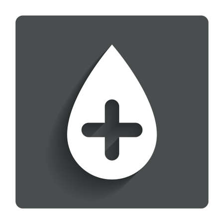 Water drop with plus sign icon. Softens water symbol. Gray flat button with shadow. Modern UI website navigation. Vector