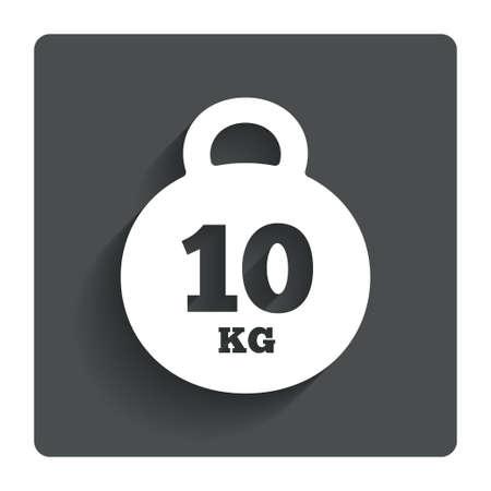 kilogram: Weight sign icon. 10 kilogram (kg). Sport symbol. Fitness. Gray flat button with shadow. Modern UI website navigation. Vector Illustration