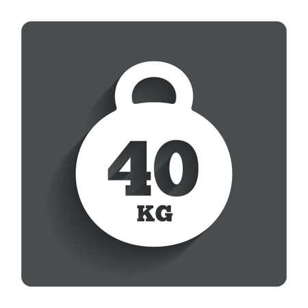 kilogram: Weight sign icon. 40 kilogram (kg). Sport symbol. Fitness. Gray flat button with shadow. Modern UI website navigation. Vector Illustration