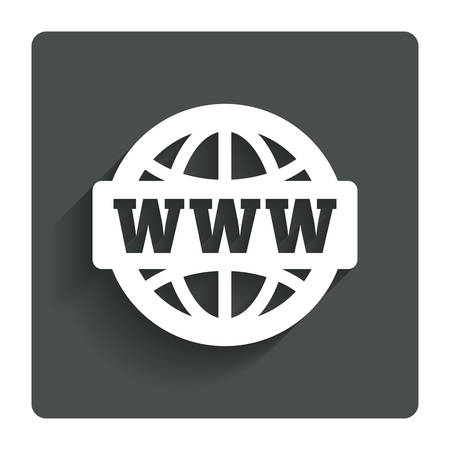 WWW sign icon. World wide web symbol. Globe. Gray flat button with shadow. Modern UI website navigation. Vector