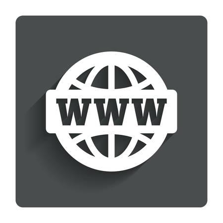 WWW 기호 아이콘입니다. 월드 와이드 웹 기호. 글로브입니다. 그림자와 함께 회색 플랫 버튼을 누릅니다. 현대 UI의 웹 사이트 탐색. 벡터