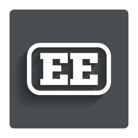 ee: Estonian language sign icon EE translation symbol with frame.
