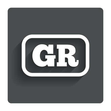 gr: Greek language sign icon GR Greece translation symbol with frame.