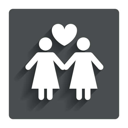 woman in love: Couple sign icon Woman love woman.