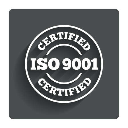 iso: ISO 9001 certified sign icon.