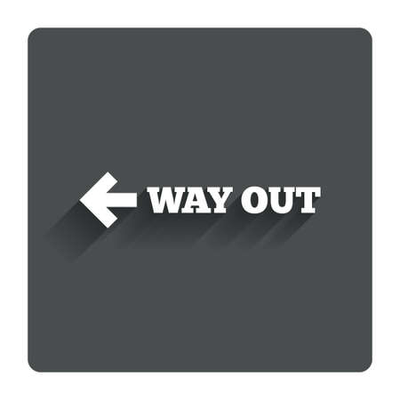way out: Way out left sign icon. Stock Photo