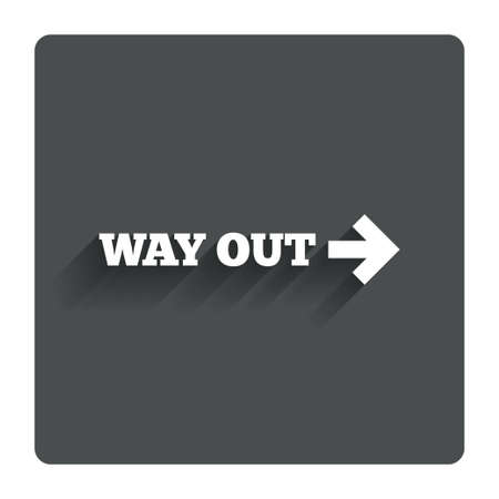 way out: Way out right sign icon. Stock Photo