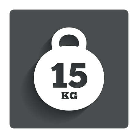 kg: Weight sign icon. 15 kilogram (kg).  Stock Photo