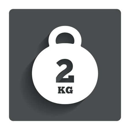 kg: Weight sign icon. 2 kilogram (kg).