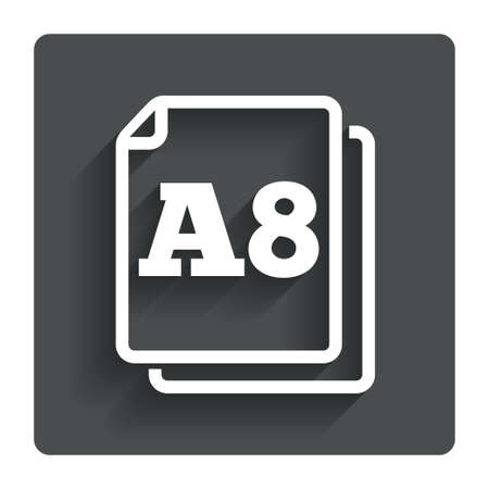 a8: Paper size A8 standard icon.
