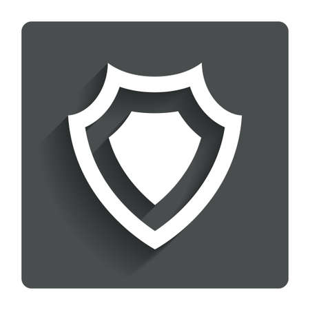 security token: Shield sign icon. Protection symbol. Gray flat button with shadow. Modern UI website navigation.