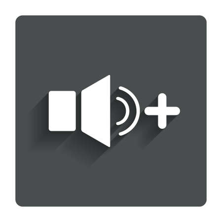 louder: Speaker volume louder sign icon. Sound symbol. Gray flat button with shadow. Modern UI website navigation. Stock Photo