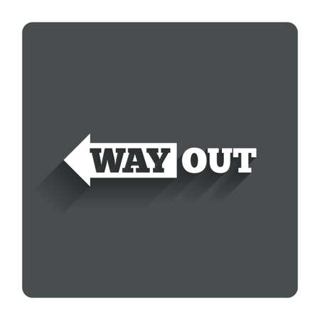way out: Way out left sign icon.