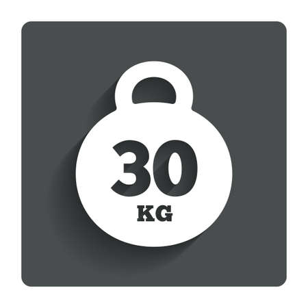 kilogram: Weight sign icon. 30 kilogram (kg).