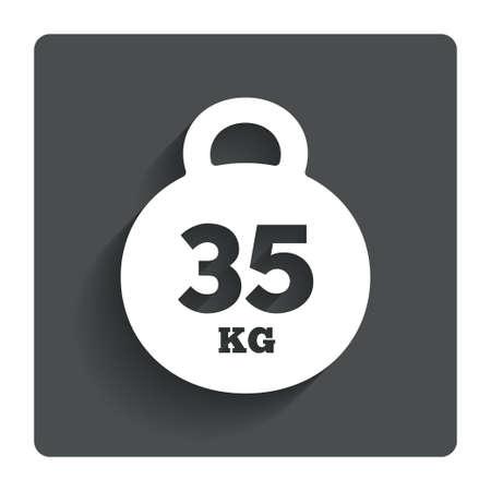 kilogram: Weight sign icon. 35 kilogram (kg).