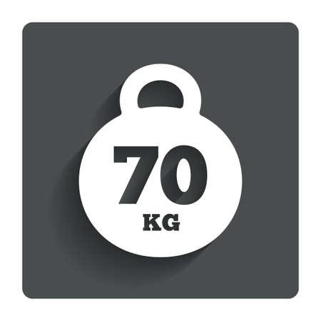 kilogram: Weight sign icon. 70 kilogram (kg)