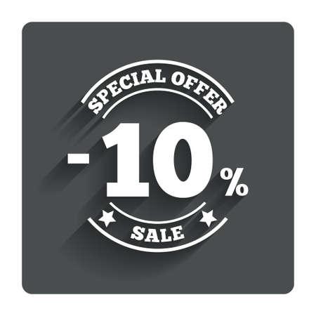 ten best: 10 percent discount sign icon. Stock Photo