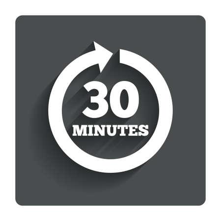 30: Every 30 minutes sign icon Full rotation arrow symbol.  Stock Photo